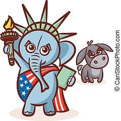 states., republicans., verenigd, donkey., usa, elefant, politiek, america., illustratie, debat, symbolen, verkiezing, democraten, standbeeld, partijen, vlag, liberty.