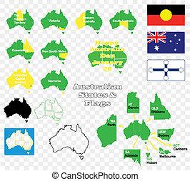 stati, australia, bandiere