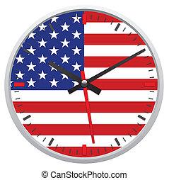 stati, bandiera, unito, america, orologio