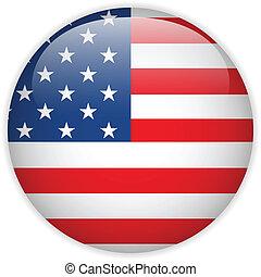 stati, bandiera, unito, lucido, bottone