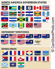 stati, bandiere, americano, nord