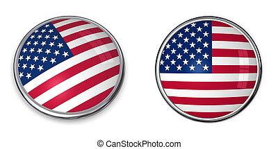 stati, bottone, unito, bandiera