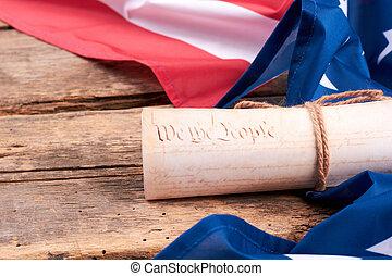 stati, constitution., bandiera, unito, rolled-up