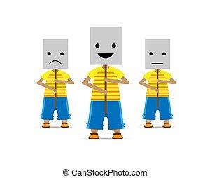 stati, differente, indifference., illustration., persone, maschere, soul., vettore, tristezza, sorriso
