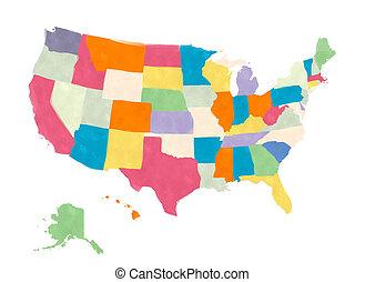 stati, mappa, america, unito, acquarellature