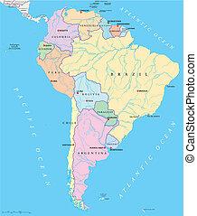stati, mappa, singolo, america, sud