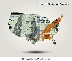 stati, mappa, unito, dollaro, america
