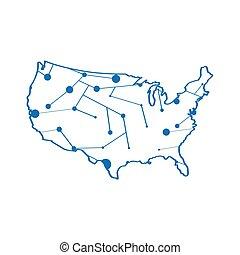 stati, mappa, unito, isolato