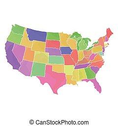 stati, mappa, unito, politico