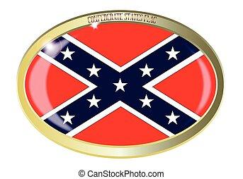 stati, ovale, bandiera, bottone, confederato