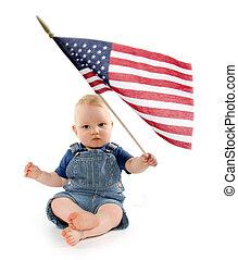 stati, ragazzo, bandiera, unito, bambino