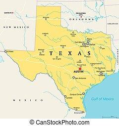 stati, texas, politico, unito, mappa