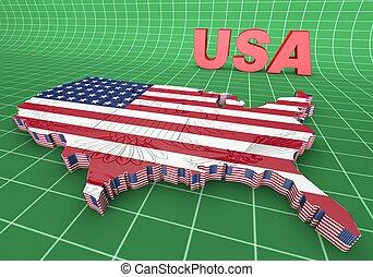 stati uniti america. bandiera, 3d, illustrazione, mapped