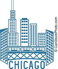 stati uniti, chicago, illinois, orizzonte, vettore, disegno, sagoma
