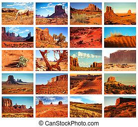 stati uniti, collage, immagini, arizona, valle monumento