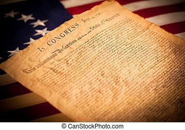 stati uniti diminuiscono, fondo, dichiarazione, indipendenza
