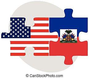 stati uniti, haiti, bandiere, puzzle
