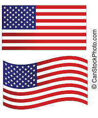stati uniti, illustrazione, vettore, bandiera