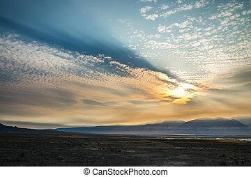 stati uniti, lago, surreale, tramonto, california, owens