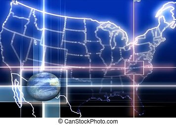 stati uniti, mappa, contorno