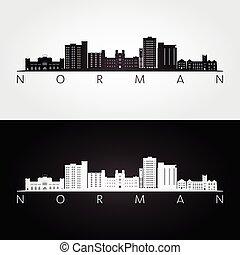 stati uniti, normanno, silhouette, limiti, orizzonte, oklahoma