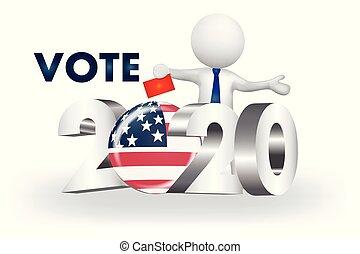 stati uniti, persone, -2020, piccolo, vettore, voto, logotipo, 3d