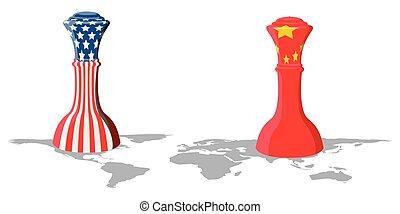 stati uniti, porcellana, scacchi, bandiere, pezzo
