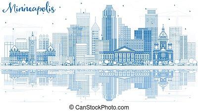 stati uniti, reflections., costruzioni, minnesota, orizzonte, minneapolis, contorno, blu