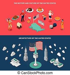 stati uniti, turistico, attrazioni, 2, isometrico, bandiere
