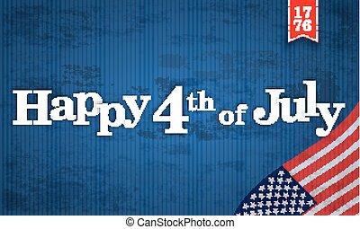 stati uniti, vendemmia, testata, bandiera, 4, luglio, felice