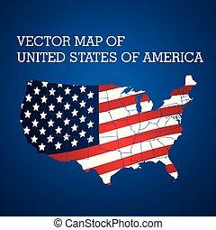 stati, unito, america, vettore, mappa, stilizzato