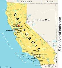 stati, unito, politico, california, mappa