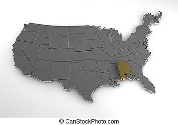 stati, unito, render, mappa, metallico, america, stato, highlighted., alabama, 3d
