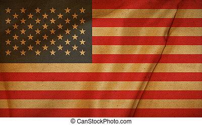 stati, vendemmia, bandiera, unito, fondo.