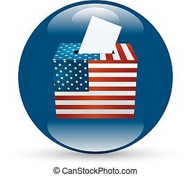 stati, voto, unito, distintivo, elezione