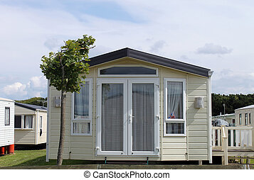 Static caravan in trailer park. Scarborough, England.