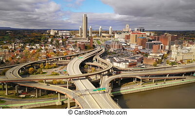 Static Shot Aerial View Albany New York Downtown Skyline...