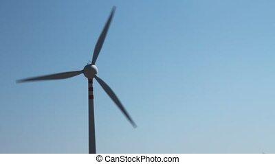 Static shot of a wind turbine
