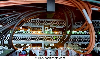 Static video of optical cables in the server room - static...