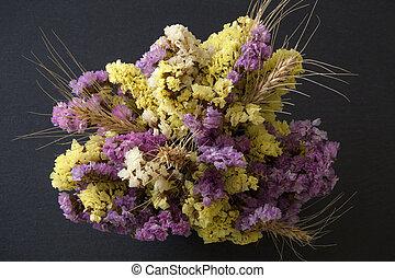 Statice flowers on black background