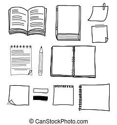 stationär, fester entwurf, zeichnung, hand