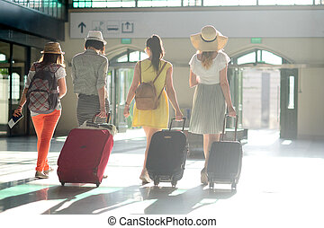 station., グループ, 若い, 観光客