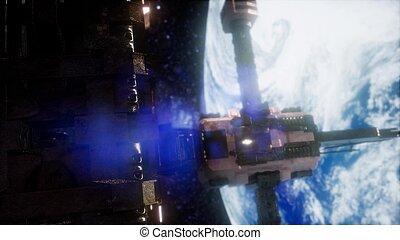 station, animatie, earth., 3d, ruimte
