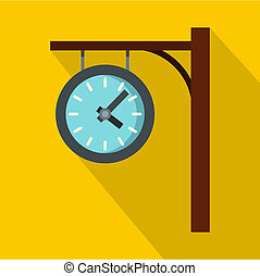 Station clock icon, flat style