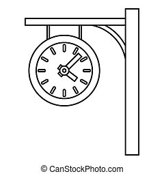 Station clock icon, outline style