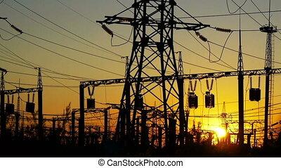 station, coucher soleil, puissance