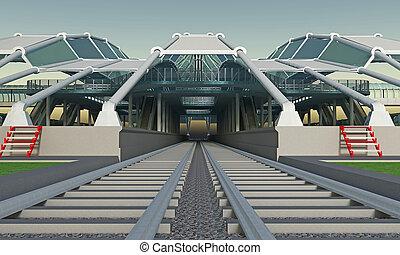 station, couvert, personne, train