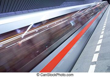 station de métro, (motion, brouillé, &, couleur, modifié...