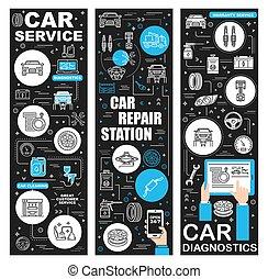 station, diagnostic, service, garage, voiture