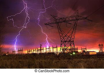 station, distribution, strike., puissance, éclair